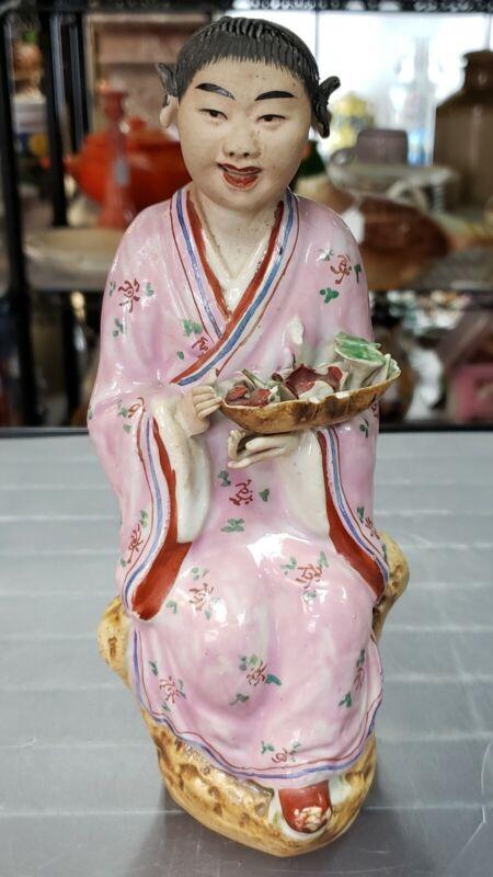 Circa 1920 Chinese Immortal Lan Caihe Porcelain Figurine
