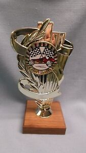 red pinewood derby trophy full color insert cub scout checkered flag wood bse