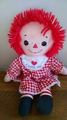 Vintage Knickerbocker Raggedy Ann Doll 15 Inch Red Checked Dress and Hat - Raggedy Ann Hat