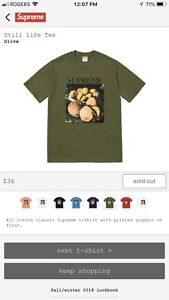 Supreme Still Life Tee Olive Size Large Fw 18