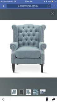 Wing Back Chair, Black Mango Deluxe Wingback, Brand New