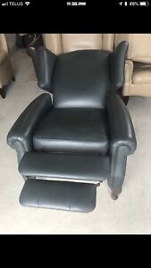 Leather reclining wingback chairs