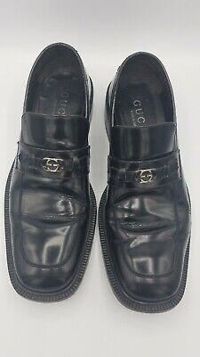 Vintage Gucci Square Toe Men's Loafers Black Leather GG Logo Size 43.5 E