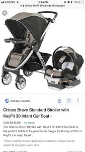 Chicco Car Seat, Base & Stroller - Like new, used for 2 weeks