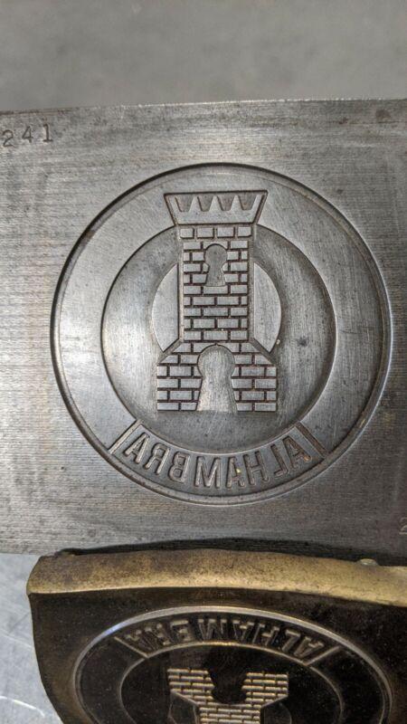 Vintage Negative Steel Die Stamp Mold Hub ALHAMBRA