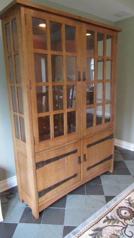 Stickley Oak Mission Cabinet China Bookcase