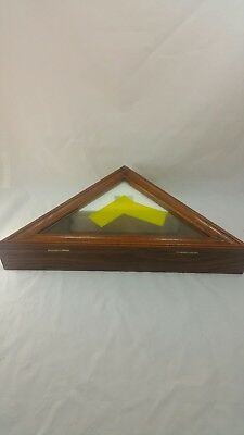 Memorial Wooden Triangle Shadow Box Flag Display Wall Mount Shelf Case Frame