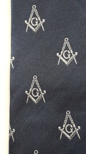 MASONIC NAVY NECKTIE WITH SQUARE AND COMPASS in Silver
