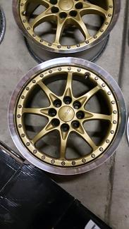 "Genuine set Rays GRN 15"" 4x100 gold jdm wheels rims ce28"