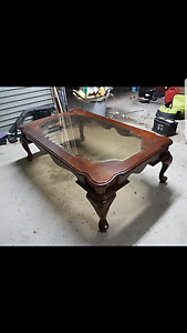 Wooden and glass coffee table Denistone Ryde Area Preview