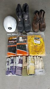Steel toe boots, hard hat, rain suits, gloves