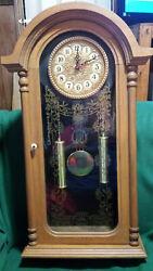 Vintage Large Decorative Wooden Oak Wall Clock - Tanaka Quartz Movement - Runs