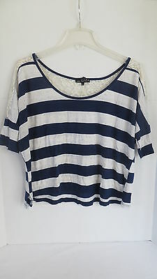 Juniors One Clothing Navy Blue & Cream Striped Short Sleeve Shirt. Size L Blue Cream Clothing