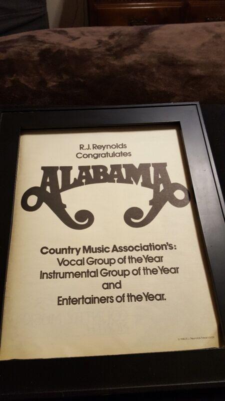 Alabama Rare Original CMA Promo Poster Ad Framed!