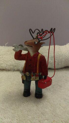 Christmas ornament Resin Reindeer wearing tool belt Wire Antlers MAX870
