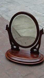 ANTIQUE-FRENCH-WALNUT-VICTORIAN-TABLE-TOP-SWIVEL-VANITY-DRESSER-MIRROR-WITH-BOX