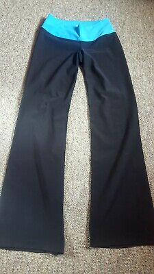 Nike Dri Fit Workout/ Gym/ Yoga Slim Fit Trousers Black wth Blue Waistband Small