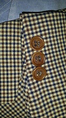 42L Blue Tan Gun Check Plaid Gingham Wool blend Sport Coat Blazer ITALY