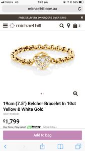 Michael Hill 10ct Gold 19cm Belcher Bracelet Bruce Belconnen Area Preview