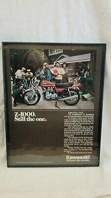 """Vintage Motorcycle Advertising 1978 Kawasaki Z1000 Framed 11""""×8.5"""" Garage..."""