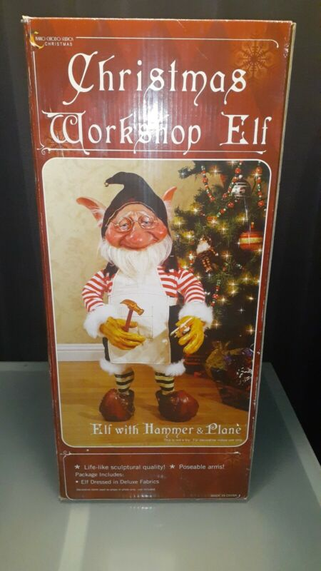 Christmas Workshop Elf With Hammer & Plane! Posesble Arms! Mario Chiodo Studio!