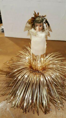 Vintage  Christmas Tree Topper  Gold Shimmer Angel  Japan