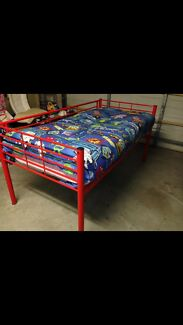 Tall red single bed frame/ loft bed URGENT SALE!