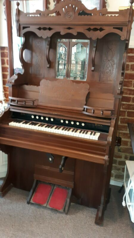Weaver Parlor Pump Organ Victorian Elaborate High Back Weaver Piano Co