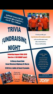 Fundraising Trivia Night - Help find a cure for Type 1 Diabetes 29/08 St Marys Penrith Area Preview