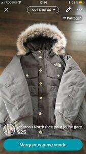 Manteau North face gris et col de fourrure