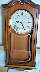Bulova C3542 Cranbrook Chiming Clock, Walnut Finish In Original Open Box