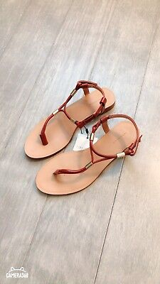 ZARA Women's Flat Sandals with Gold-tone detail(Brown,  US 6/EUR 36), used for sale  Shipping to Nigeria