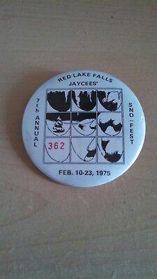 Vintage Collectible ButtonPinBack Jaycees 7thAnnual SnoFest RedLakeFalls MN 1975