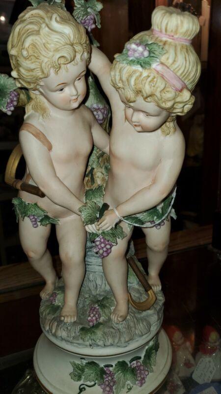"""French Antique Art Nouveau Bisque Porcelain Boy & Girl Grapes Figurine 13.5"""""""
