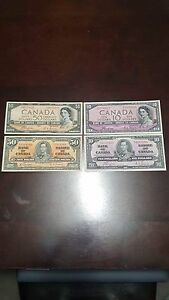 1954 devil face and 1937 canadian banknote bills