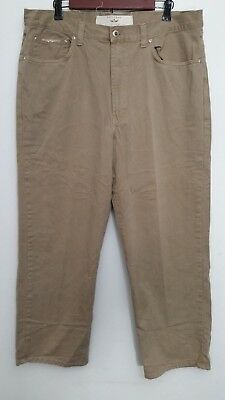 Natural Issue Mens Khaki Pants 36x28 Brown Flat Front Wide Leg Cotton - Natural Brown 36