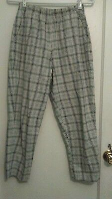 VTG 90s Ladies 100% Cotton Blues White Red Brown Plaid Elastic Waist Pants - M