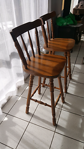 2 x timber bar stools Albion Park Shellharbour Area Preview