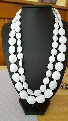 Vintage white bead necklace  - White Bead Necklaces
