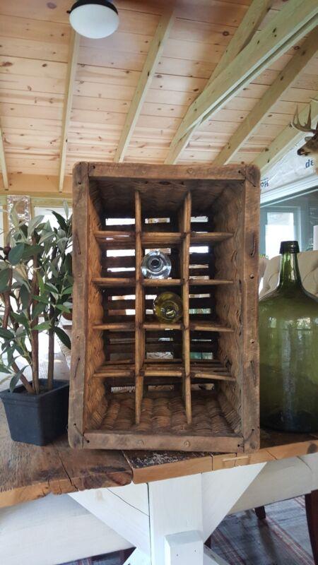 Antique European  French Wicker Champagne/Wine Basket Holder, Storage, Display