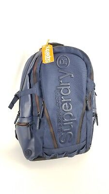 Superdry Men's Buff Tarp Backpack, Navy, Red Accents. One Size New