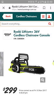 Ryobi lithium + 36v cordless chainsaw + battery and charger.