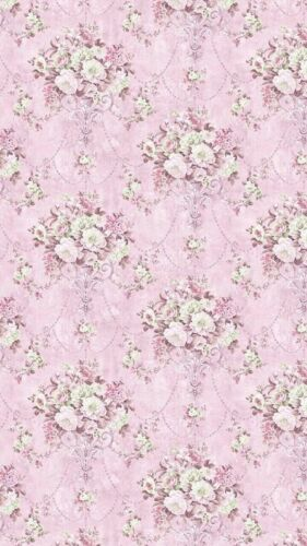 Dollhouse Miniature Shabby Chic Wallpaper Pink with Roses Floral Flowers 1:12