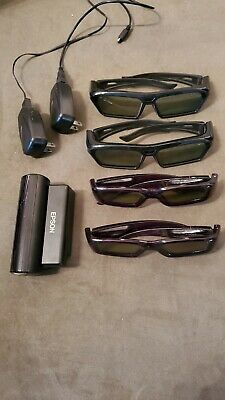 4x 3D Active Shutter Glasses Rechargeable TV Set of 4
