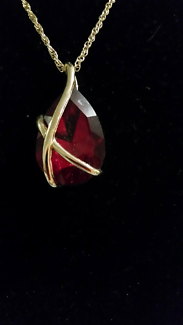 Fashion Necklace with large red Gemstone