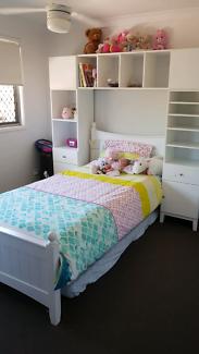 King Single Bed & Shelving Unit