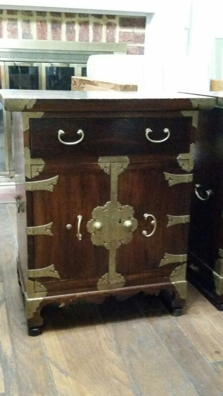 ANTIQUE HAND CRAFTED KOREAN Asian Wooden Chest w/ Beautiful Tooled Brass Accents