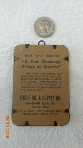 Automotive 1917 Advertising Eagle Oil Supply Boston Massachusetts Metal frame
