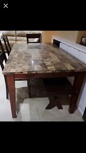 Stone Table Top/3 Wood Chairs and Wood Bench