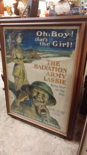ORIGINAL 1918 THE SALVATION ARMY LASSIE WW1 POSTER Framed